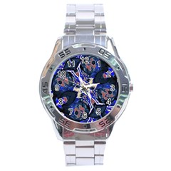 Decorative Retro Floral Print Stainless Steel Watch
