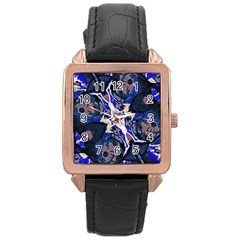 Decorative Retro Floral Print Rose Gold Leather Watch