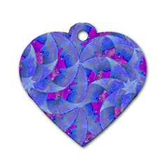 Abstract Deco Digital Art Pattern Dog Tag Heart (one Sided)