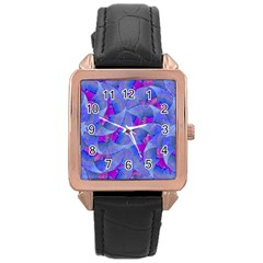 Abstract Deco Digital Art Pattern Rose Gold Leather Watch