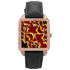 Tribal Summer Nightsdreams Pattern Rose Gold Leather Watch