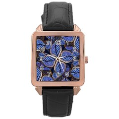 Fantasy Nature Pattern Print Rose Gold Leather Watch