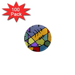 Multicolored Tribal Pattern Print 1  Mini Button Magnet (100 pack)
