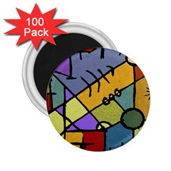 Multicolored Tribal Pattern Print 2.25  Button Magnet (100 pack)