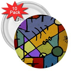 Multicolored Tribal Pattern Print 3  Button (10 Pack)