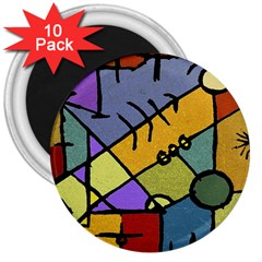 Multicolored Tribal Pattern Print 3  Button Magnet (10 pack)