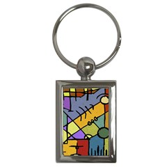 Multicolored Tribal Pattern Print Key Chain (rectangle)