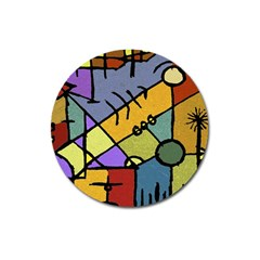 Multicolored Tribal Pattern Print Magnet 3  (Round)
