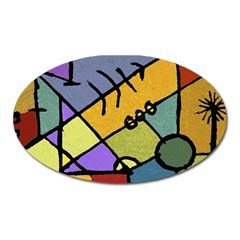 Multicolored Tribal Pattern Print Magnet (oval)