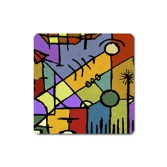 Multicolored Tribal Pattern Print Magnet (square)