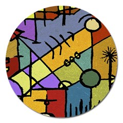 Multicolored Tribal Pattern Print Magnet 5  (round)