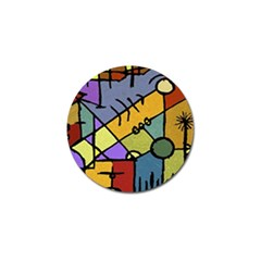 Multicolored Tribal Pattern Print Golf Ball Marker 4 Pack