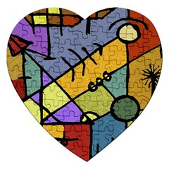 Multicolored Tribal Pattern Print Jigsaw Puzzle (Heart)