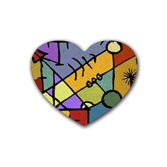 Multicolored Tribal Pattern Print Drink Coasters 4 Pack (heart)