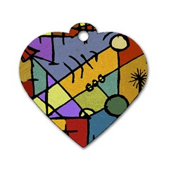 Multicolored Tribal Pattern Print Dog Tag Heart (two Sided)