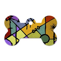 Multicolored Tribal Pattern Print Dog Tag Bone (Two Sided)