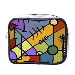 Multicolored Tribal Pattern Print Mini Travel Toiletry Bag (one Side)