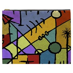 Multicolored Tribal Pattern Print Cosmetic Bag (XXXL)