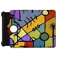 Multicolored Tribal Pattern Print Kindle Fire HD Flip 360 Case