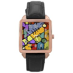 Multicolored Tribal Pattern Print Rose Gold Leather Watch