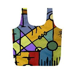 Multicolored Tribal Pattern Print Reusable Bag (M)