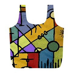 Multicolored Tribal Pattern Print Reusable Bag (l)