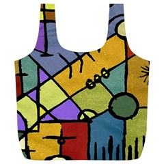 Multicolored Tribal Pattern Print Reusable Bag (XL)