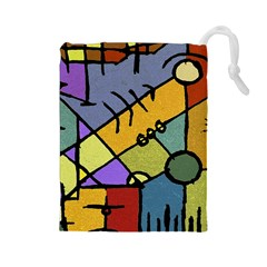 Multicolored Tribal Pattern Print Drawstring Pouch (Large)