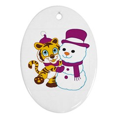 Winter Time Zoo Friends   004 Oval Ornament