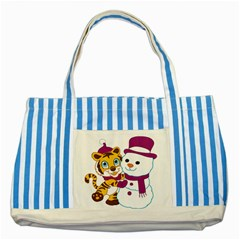 Winter Time Zoo Friends   004 Blue Striped Tote Bag