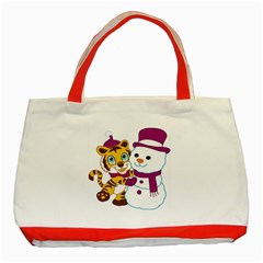 Winter Time Zoo Friends   004 Classic Tote Bag (Red)