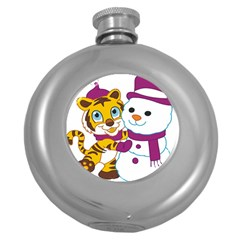 Winter Time Zoo Friends   004 Hip Flask (round)