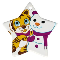 Winter Time Zoo Friends   004 Star Ornament (two Sides)