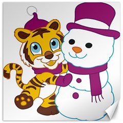 Winter Time Zoo Friends   004 Canvas 12  x 12  (Unframed)