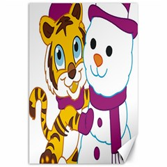 Winter Time Zoo Friends   004 Canvas 20  X 30  (unframed)
