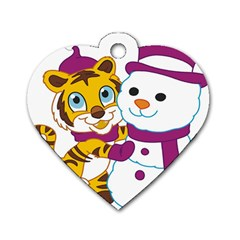 Winter Time Zoo Friends   004 Dog Tag Heart (one Sided)