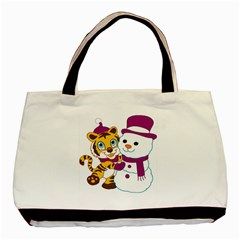 Winter Time Zoo Friends   004 Twin-sided Black Tote Bag