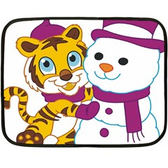Winter Time Zoo Friends   004 Mini Fleece Blanket (Two Sided)
