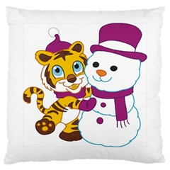 Winter Time Zoo Friends   004 Large Cushion Case (single Sided)