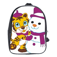 Winter Time Zoo Friends   004 School Bag (xl)