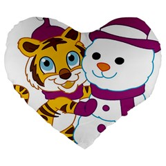 Winter Time Zoo Friends   004 19  Premium Heart Shape Cushion