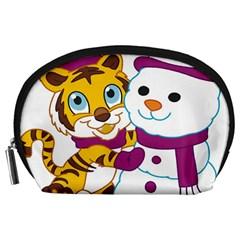 Winter Time Zoo Friends   004 Accessory Pouch (Large)