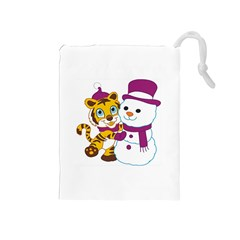 Winter Time Zoo Friends   004 Drawstring Pouch (Medium)
