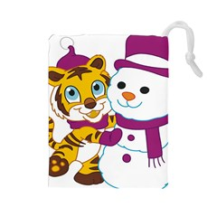 Winter Time Zoo Friends   004 Drawstring Pouch (Large)