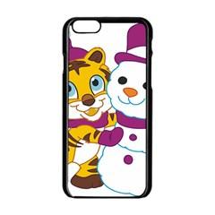 Winter Time Zoo Friends   004 Apple iPhone 6 Black Enamel Case