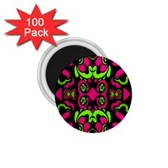 Psychedelic Retro Ornament Print 1.75  Button Magnet (100 pack)