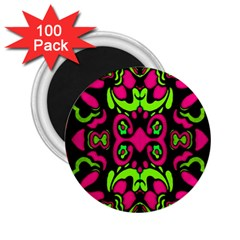 Psychedelic Retro Ornament Print 2 25  Button Magnet (100 Pack)