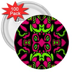 Psychedelic Retro Ornament Print 3  Button (100 Pack)