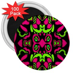 Psychedelic Retro Ornament Print 3  Button Magnet (100 Pack)