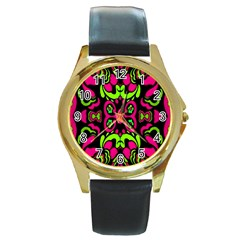 Psychedelic Retro Ornament Print Round Leather Watch (gold Rim)